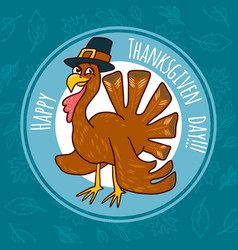 thanksgiving turkey concept background hand drawn vector image