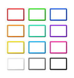 Twelve colored horizontal frames with shadows vector