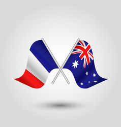 Two crossed french and australian flags vector