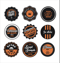 vintage labels black and orange set 2 vector image