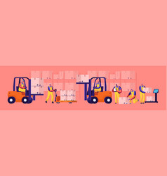 Warehouse workers loading stacking goods with vector