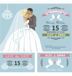 Wedding invitation setKissing Cartoon bride and vector