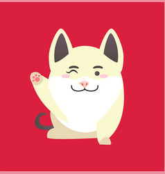 white pig with winking face and raised paw vector image