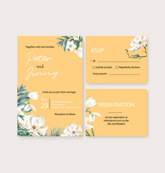 Winter bloom wedding card design with various vector