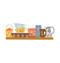Wooden shelf with crockery or ceramic tableware vector