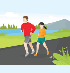 young couple running around in the park vector image