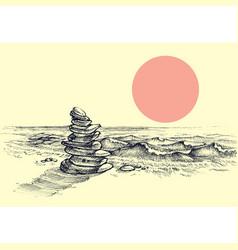 Zen stones on beach beautiful sea shore vector