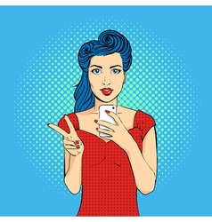 pop art woman face with open mouth holding a phone vector image vector image