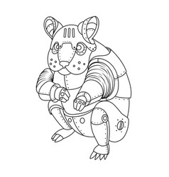 Steam punk hamster coloring book vector