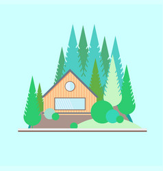 wooden house in the woods vector image vector image