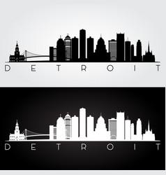 Detroit usa skyline and landmarks silhouette vector