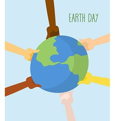 Earth Day People hands holding Earth vector image vector image