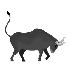 Gray bull angry cartoon isolated on white vector image