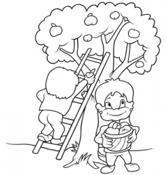 kids harvesting fruits vector image