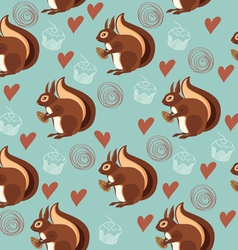 Seamless pattern with squirrels and nuts vector image vector image