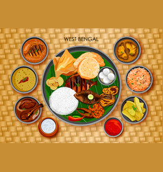 traditional bengali cuisine and food meal thali of vector image vector image