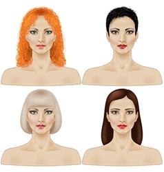 Women faces vector image