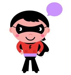 Cute superhero boy with speech bubble vector image vector image