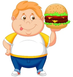 Fat boy cartoon smiling and ready to eat a big ham vector image
