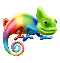 rainbow chameleon vector image vector image