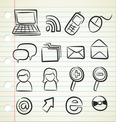 sketchy icon set vector image
