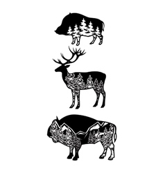 stylized image wild boar deer bison with vector image vector image