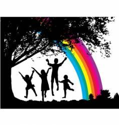 tree-kids vector image vector image