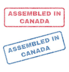 Assembled in canada textile stamps vector