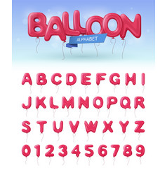 balloon alphabet realistic icon set vector image vector image