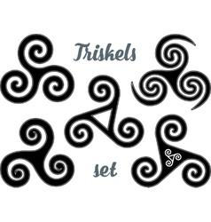 Black and white celtic triskel symbols set vector image