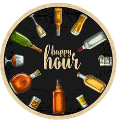 coaster with bottle and glass with beer whiskey vector image vector image