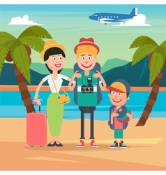Happy Family on Beach Travel by Airplane vector image vector image