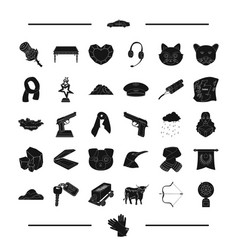 jewel weapon animal and other web icon in black vector image