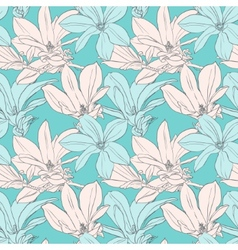 Seamless pattern with magnolia vector image vector image