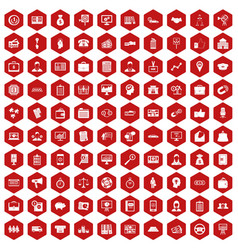 100 business group icons hexagon red vector image