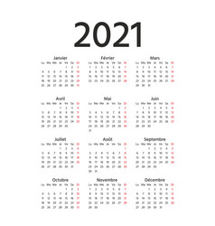 2021 french calendar template year planner vector