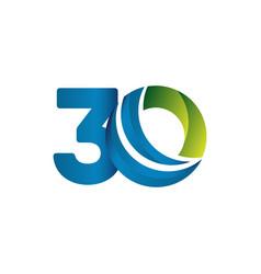 30 years anniversary celebration blue green vector