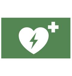 Aed sticker emergency first aid defibrillator vector