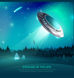 Alien spacecraft kidnapping poster vector