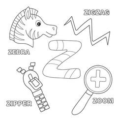 alphabet z - worksheet exercises for kids vector image