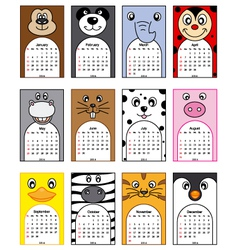 Animals calendar 2014 vector