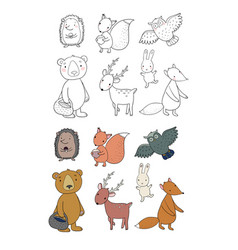 animals forest set with cute cartoon bears vector image