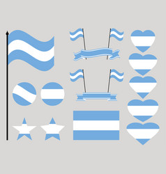 argentina flag set collection of symbols flag vector image