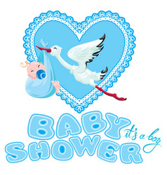 Baby shower card invitation etc stork with boy vector