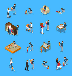 Baby sitter isometric people vector