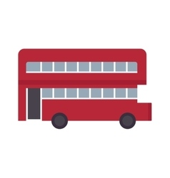 Beautiful double decker red bus flat design vector