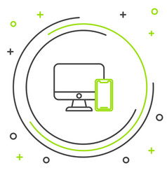 black and green line computer monitor and mobile vector image