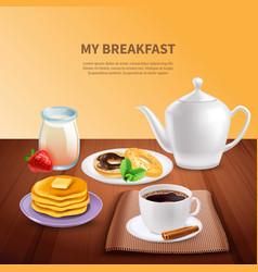 breakfast realistic background vector image