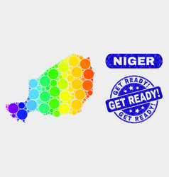 Bright mosaic niger map and scratched get ready vector