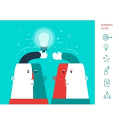 Businessman giving ideas bulb to his partner vector image